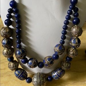 Antique lapis brass necklace